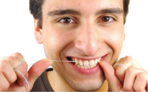 man flossing teeth Dental Care Center
